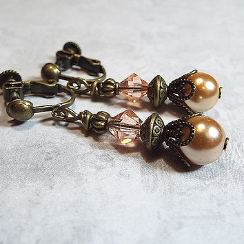 Clip on Earrings Peach and Golden Faux Pearl Antiqued Brass Vintage Style Dangle Drop Womens Gift Jewelry Made with Swarovski Crystals