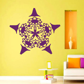 Flower Wall Decals Mandala Om Yoga Indian Pattern Oum Sign Living Room Interior Vinyl Decal Sticker Art Mural Bedroom Kids Room Decor MR370