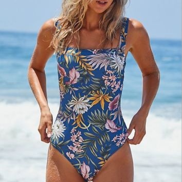 Summer New fashion more floral leaf print straps one piece bikini swimsuit Blue