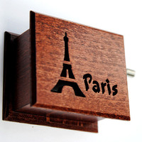 Paris souvenir music box French Eiffel Tower Amelie France  wooden handmade art