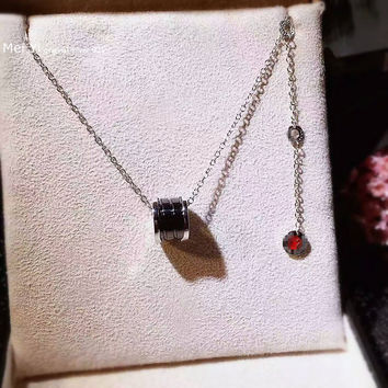 Fashion All-match Male Female Black Ceramic Spring Necklace Pendant Couple Little Reds Sterling Silver Clavicle Chain
