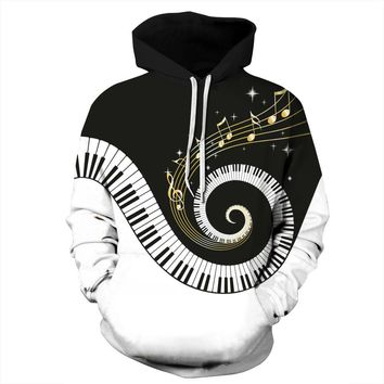 """Rotating Piano"" Skateboarding Hoodie lovers 3D hoodie hooded pullover hooded sweater men women Streetball jacket Baseball coat"
