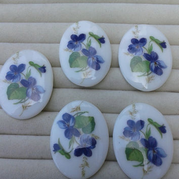 blue flower  porcelain cameos - blue flower cabochons 40x30mm - set of 5
