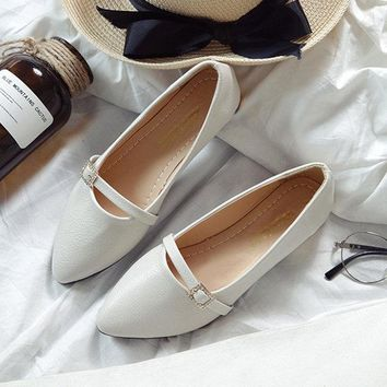 Gentle Elegance Buckle Pointed Toe Office Loafers For Women