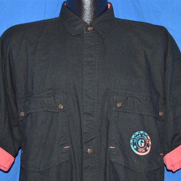 90s Black Pink Roll Up Sleeves Button Down Shirt Large