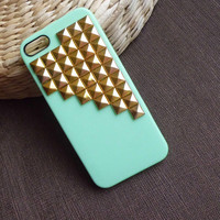 mint green  studded Iphone 5 Case,gold Pyramid Studs case  for IPHONE5, for Apple iPhone5, rivet studs iphone Cases