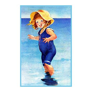 Beach Baby in Blue By Jessie Willcox Smith Counted Cross Stitch Pattern