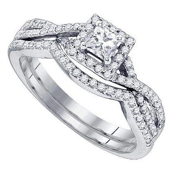14kt White Gold Women's Princess Diamond Twist Bridal Wedding Engagement Ring Band Set 5/8 Cttw - FREE Shipping (US/CAN)