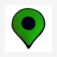 Google Map Pin Pillow - Green