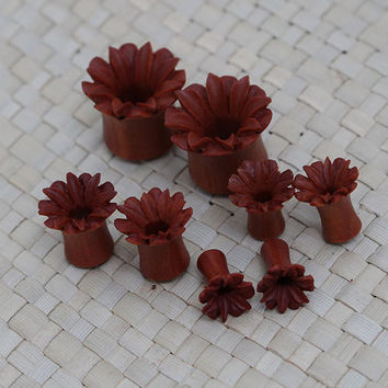 One Pair Saba Lily Plug Earrings Wood Plug Earrings