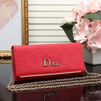"""Dior"" Fashion Embossed Letter Button Long Section Wallet Metal Chain Single Shoulder Messenger Bag Women Purse Clutch"