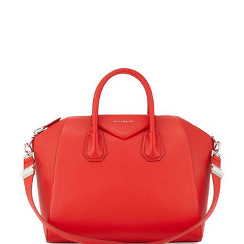 Givenchy Antigona Medium Leather Satchel Bag, Medium Red LAVELIQ