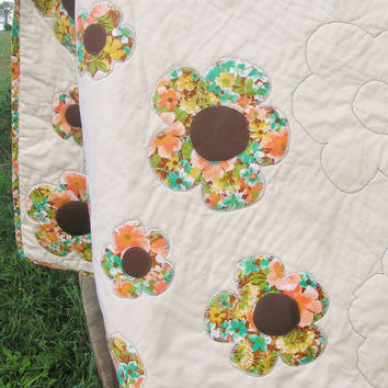 Adult throw - Flower - Homemade - Pallet - Blanket - Bedding - Mothers day - Gift - Summer Wedding - Fall