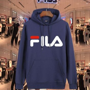 DCCKN6V FILA Fashion Casual print sweater hoodie pullover Blue