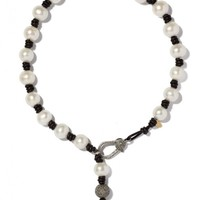 Joie DiGiovanni - Knotted Leather and Pearl Necklace With Diamond Clasp and Drop | Kirna Zabete