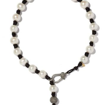 Joie DiGiovanni - Knotted Leather and Pearl Necklace With Diamond Clasp and Drop   Kirna Zabete