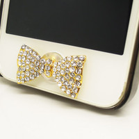Trending Gift 1PC Paved Crystal Bow Alloy Jewelry Cell Phone Home Button Sticker Charm for iPhone 4s,4g,5,5c Wedding Party Gift Friend Gift