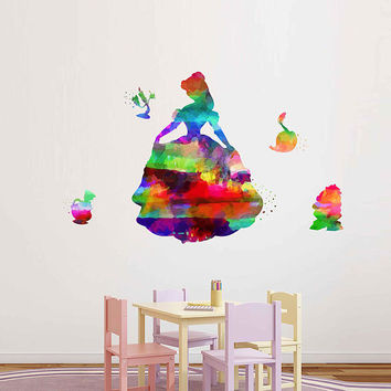 kcik2172 Full Color Wall decal Watercolor Character Disney Belle Beauty and the Beast children's room Sticker Disney