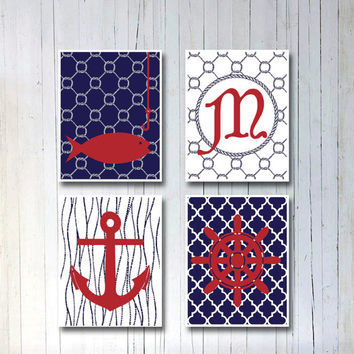 Nautical boys room poster print Custom art Nautical wall art Modern nursery decor Blue & red Personalized monogram Ships wheel Boat anchor