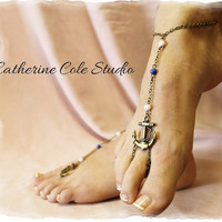 Bronze anchor and bead  Barefoot sandals great for summer 1 pr. slave sandals beach wear  foot jewelry Catherine Cole Studio  BF14