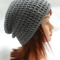 Crochet Kendall Slouch Beanie Grey Medium by AddSomeStitches