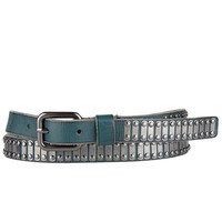 TEAL LEATHER METAL ACCENTED BELT