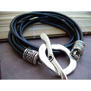 Womens Large Toggle Leather Bracelet Four Strand Double Wrap Black
