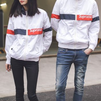 """Supreme"" Unisex Sport Casual Multicolor Logo Letter Print Long Sleeve Couple Baseball Clothes Zip Cardigan Coat"