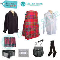 Wedding Kilt Outfit Deal:Royal Stewart Tartan Kilt, Jacobite Ghillie Shirt, Black Leather Sporran, Kilt Socks, Belt and Buckle, Flashes.