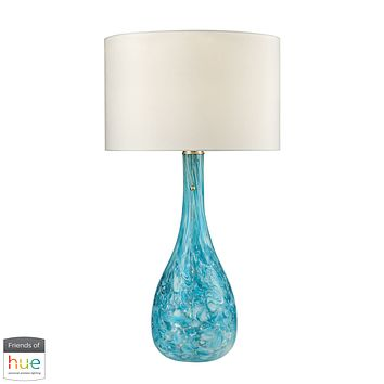 Mediterranean Blown Glass Table Lamp in Seafoam - with Philips Hue LED Bulb/Dimmer