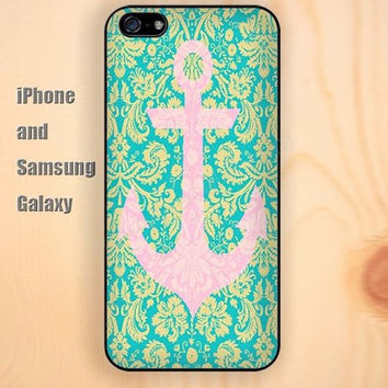 Anchor pink Anchor pattern iphone 6 6 plus iPhone 5 5S 5C case Samsung S3,S4,S5 case Ipod Silicone plastic Phone cover Waterproof