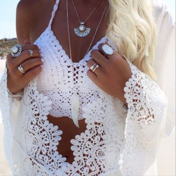 Fashion hot beach top white knot hollow crop vest halter neck top