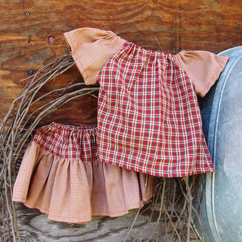 Girls peasant top and ruffled skirt , size 3 in  red Plaid (3,)homespun, country OOAK