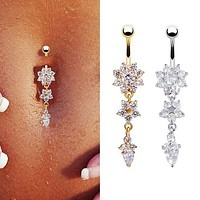 Sexy Women Flower Rhinestone Dangle Bar Barbell Belly Button Ring Body Piercing