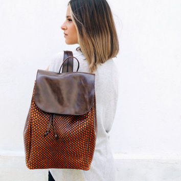 Brown Leather Backpack Purse, Genuine Leather Brown Backpack