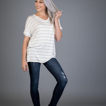 Heather Gray and White Striped Pocket Boyfriend Tee