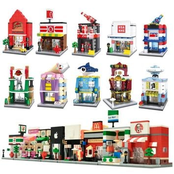 City Mini Street 3D Model Retail Store Shop KFCE McDonald Cafe Apple Architecture Classic Building Block Toy Compatible Legoedly