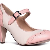 Mary Jane Oxford Heels - Cute Low Kitten Heels - Retro Round Toe Shoe With Ankle Strap - Kym By J Adams