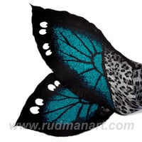 Felted Art scarf Wrap Shawl Wool Monarch butterfly. Organic natural eco materials Black White Teal