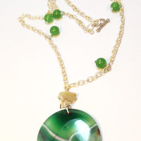 Green Gemstone Necklace - LinorStore Jewelry & Kippah