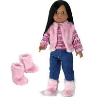 Doll Clothes for 18 Inch Doll 4 Pc. Doll Outfit Set of Pink Fur Vest, Shirt, Jeans, and Fur Boots Made by Sophia's, Fits 18 Inch American Girls