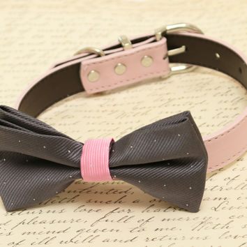 Charcoal Dog Bow Tie attached to collar, Pet wedding, Dog Lovers, wedding idea