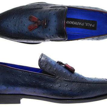 Paul Parkman Shoes Men's Tassel Loafer Navy Ostrich Embossed Leather Upper & Leather Sole