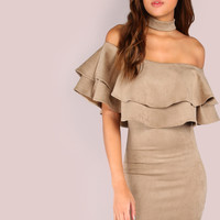 Ruffle Suede Off the Shoulder Choker Dress