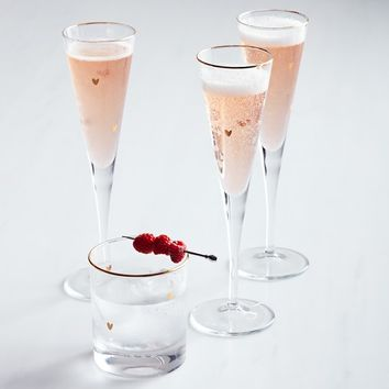 Valentine's Day Arrow Champagne Flutes, Set of 4