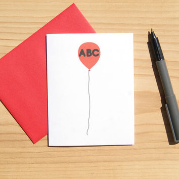 Personalized Card - Balloon Invitation - Birthday Card - Balloon Card - Three Letters - Blank Inside - FREE SHIPPING