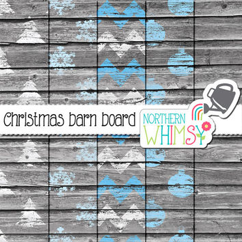 Christmas Barn Board Digital Paper Pack - blue and white rustic scrapbook paper - Christmas patterns –shabby barn board – commercial use
