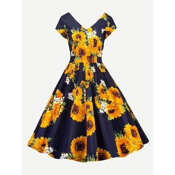 Sunflower Print V Neckline Dress