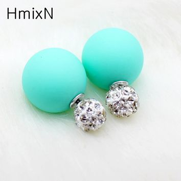 Bright two ball Earring Double side Stud Earring Crystal For Women Korea party date Statement Jewelry brinco boucle d'oreille