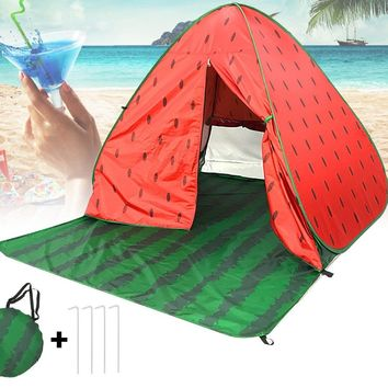 Portable Waterproof 90+ V/UPF Pop Up Beach Tent Sun Shelter W/ Zipper Curtain